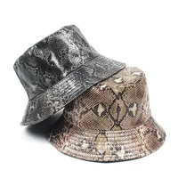 new pu leopard flat bucket hat men women double sided wear fishing hats female panama bob caps casquettes gorras bo