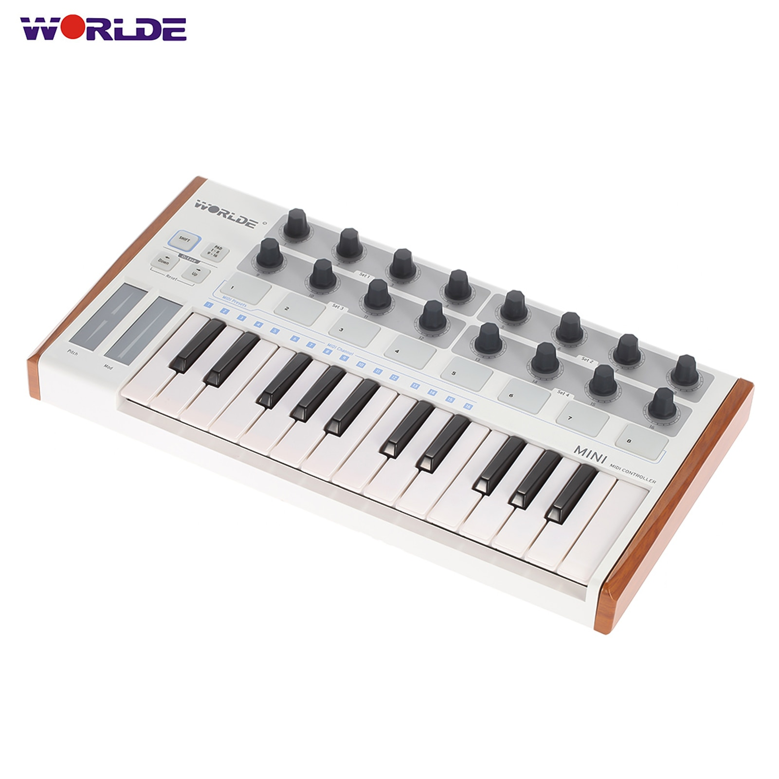 Worlde المحمولة وحدة تحكم بلوحة مفاتيح صغيرة المهنية 25-مفتاح USB ميدي تحكم طبل الوسادة لوحة المفاتيح أدوات جهاز إلكتروني