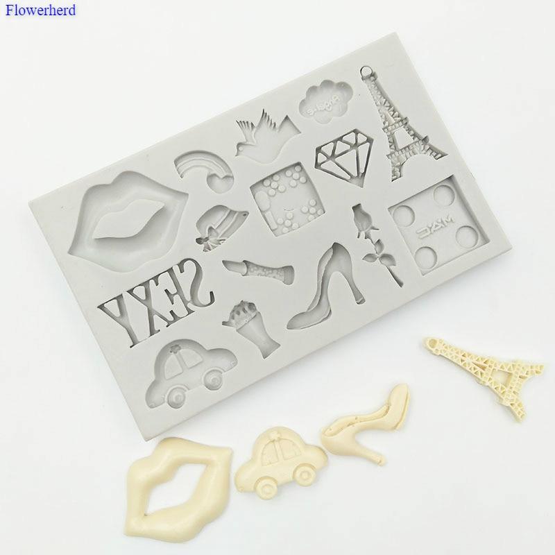 Los labios/Torre de París/coche/molde de silicona Fondant molde de silicona para pastel herramientas de decoración de cumpleaños decoración molde para dulces o Chocolate