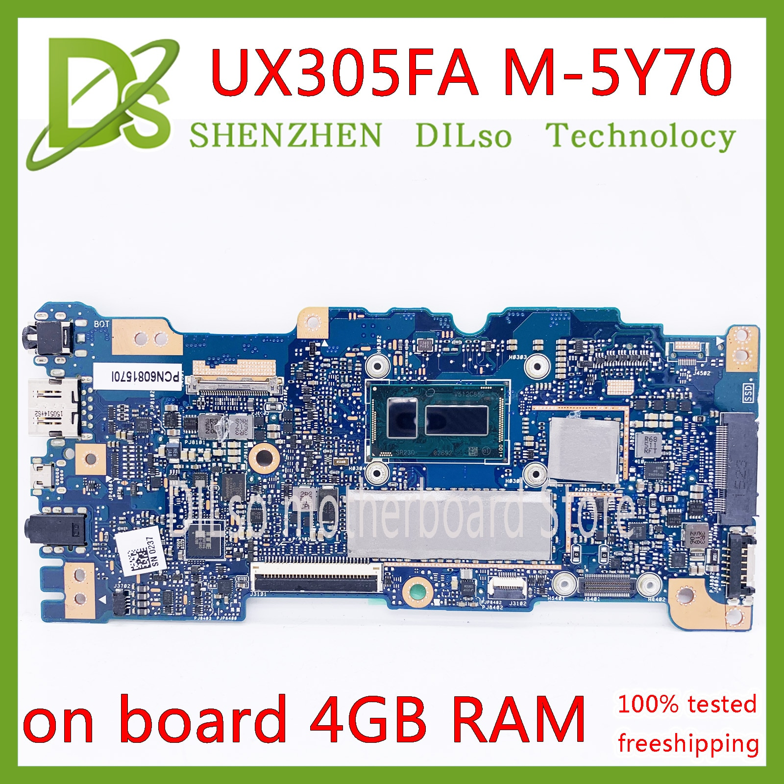 KEFU UX305FA اللوحة ل ASUS UX305FA UX305 UX305F اللوحة المحمول الأصلي دفتر 4G مومري 5Y70 CPU 100% اختبار