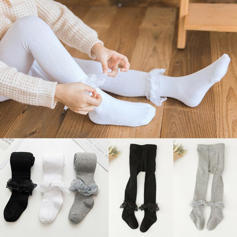 Toddler Baby Kid Girls Soft Cotton Pantyhose Princess Lace Winter Tights Winter Stocking