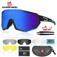 QUESHARK חדש עיצוב מקוטב רכיבה על אופניים משקפיים לגבר נשים אופני משקפי רכיבה על אופניים משקפי שמש 5 עדשה שיקוף UV400 משקפי QE48