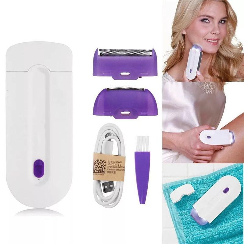 Depiladora láser, extractor de cabellos recargable para mujeres, utensilio de depilación sin dolor, con Sensor de luz, afeitadora de seguridad
