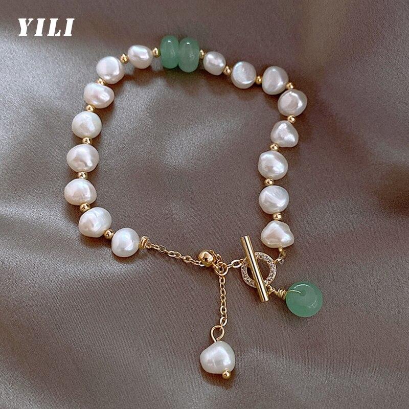 Fashion Korea Baroque Freshwater Pearl Bracelet Irregular Natural Pearl Pendant Bracelet Crystal Sto