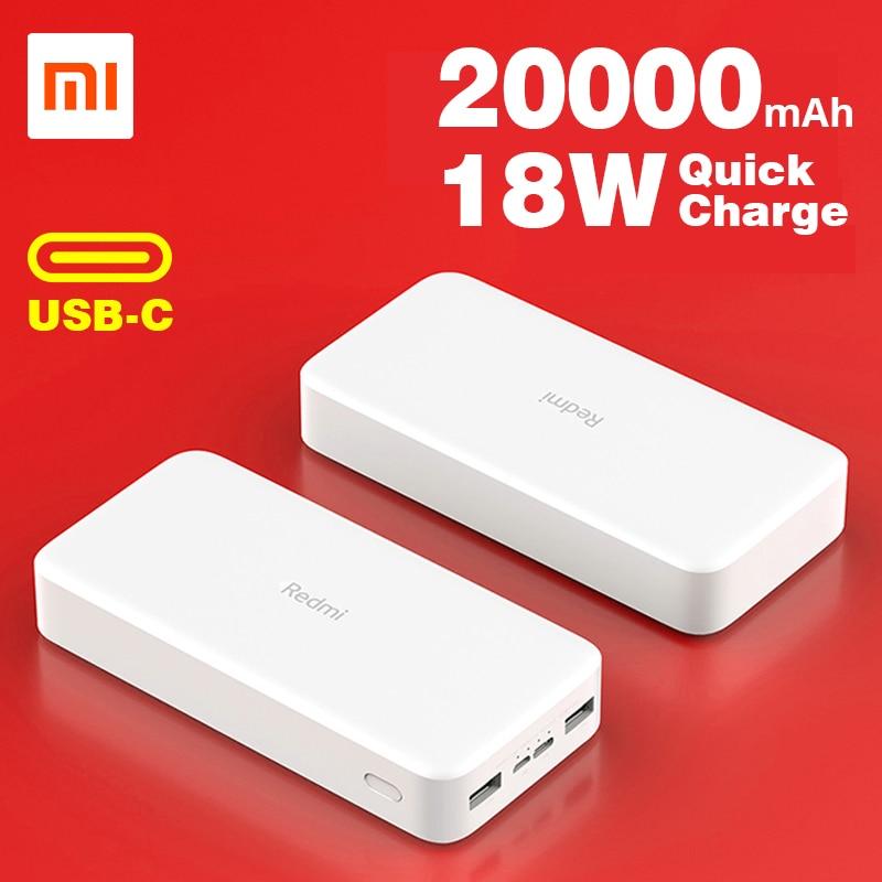Xiaomi Redmi כוח בנק 20000mAh נייד מטען סוללה כפולה USB פלט 18W מקסימום עבור iPhone אנדרואיד טלפונים ניידים USB סוג C ב