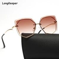 2021 fashion tea gradient sunglasses women ocean water cutting lens metal curved temples sun glasses female uv400 rimless gafas