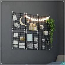 Multi-fonction fer métal grille décor Photo cadre mur Art affichage maille étagère de rangement organisateur support étagères + 10 pièces Clips en bois