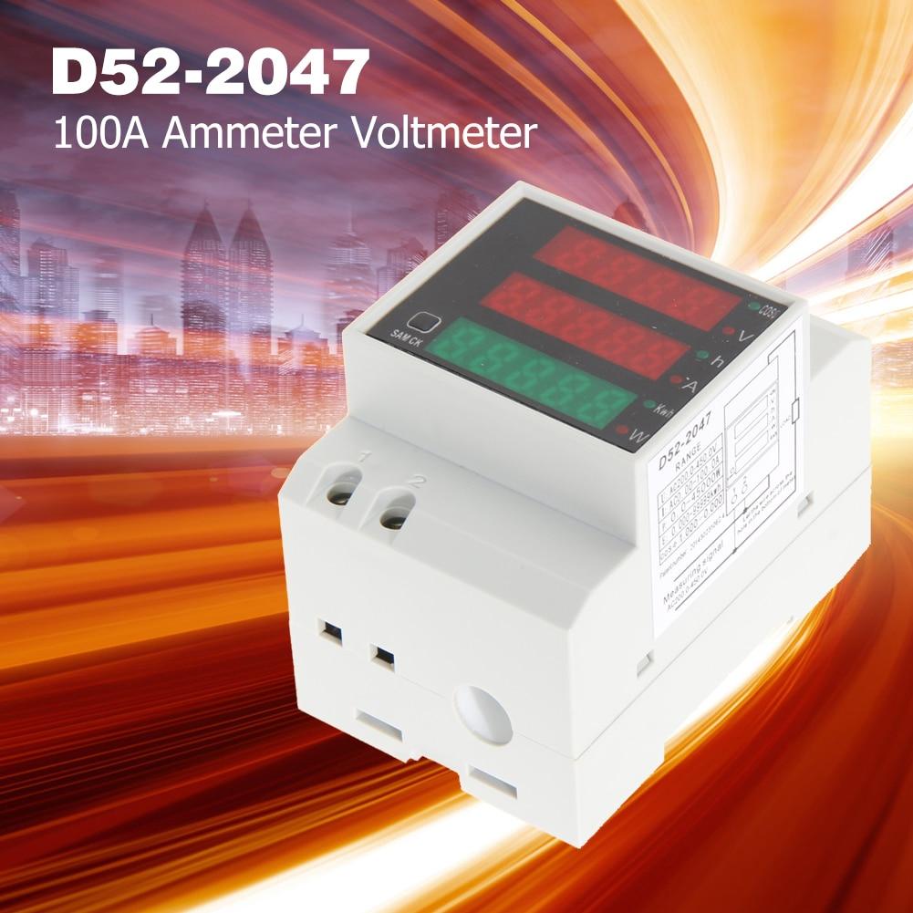 D52-2047 din-рейка Амперметр Вольтметр испытание напряжения легко переносить активный фактор мощности время энергии легкие гаджеты