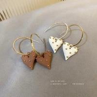 fashion elegant lacquer that bake wave point heart pendant earrings for women 925 silver needle drop earrings new jewelry