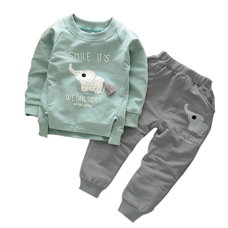 2 unids/set de suéter de personaje de algodón cálido de manga larga para bebé camiseta + pantalón chico chica niño trajes nuevo