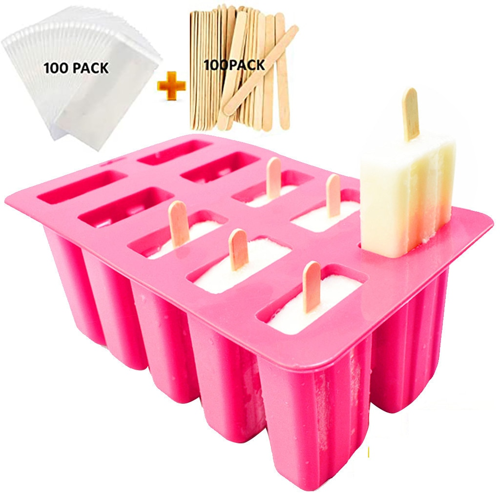 Molde de silicona para helados, 10 cavidades, para hacer polos, forma de postre, con palos de madera y bolsas, 100 uds, bandeja de moldes DIY, nuevo Z0526
