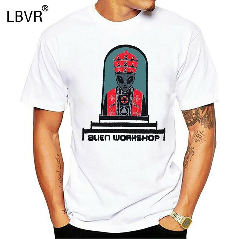 Vintage 90S Alien Werkstatt Skateboard Haken Upsharajuku Streetwear Shirt Menwhite T-shirt