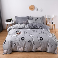 Cartoon Children Bed Linen Set Soft Polyester Bedding Set Pillowcase Sheet Animal Lions Kids Students Home Bed Duvet Cover Set