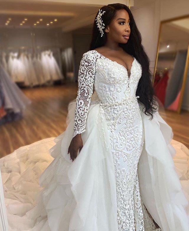 فستان زفاف أفريقي فاخر على شكل حورية البحر ، أكمام طويلة ، ياقة على شكل V ، دانتيل مطرز ، ذيل قابل للفصل ، زفاف ، 2020