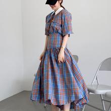 2020 summer vintage plaid dress women high waist slim short sleeve long dress