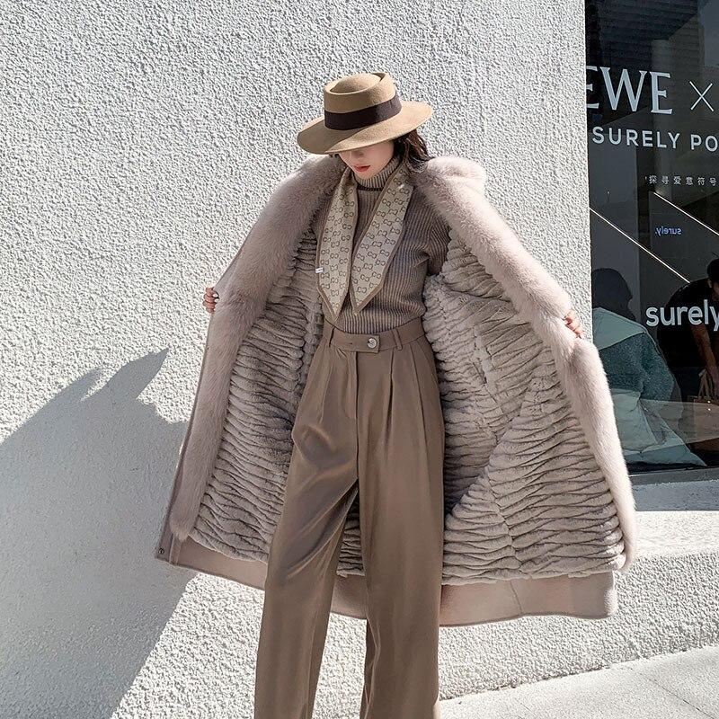 Abrigo largo tejido con cuatro formas de llevar 100% abrigo desmontable de dos piezas abrigo de piel de conejo Rex auténtica abrigo interior abrigo de piel de zorro