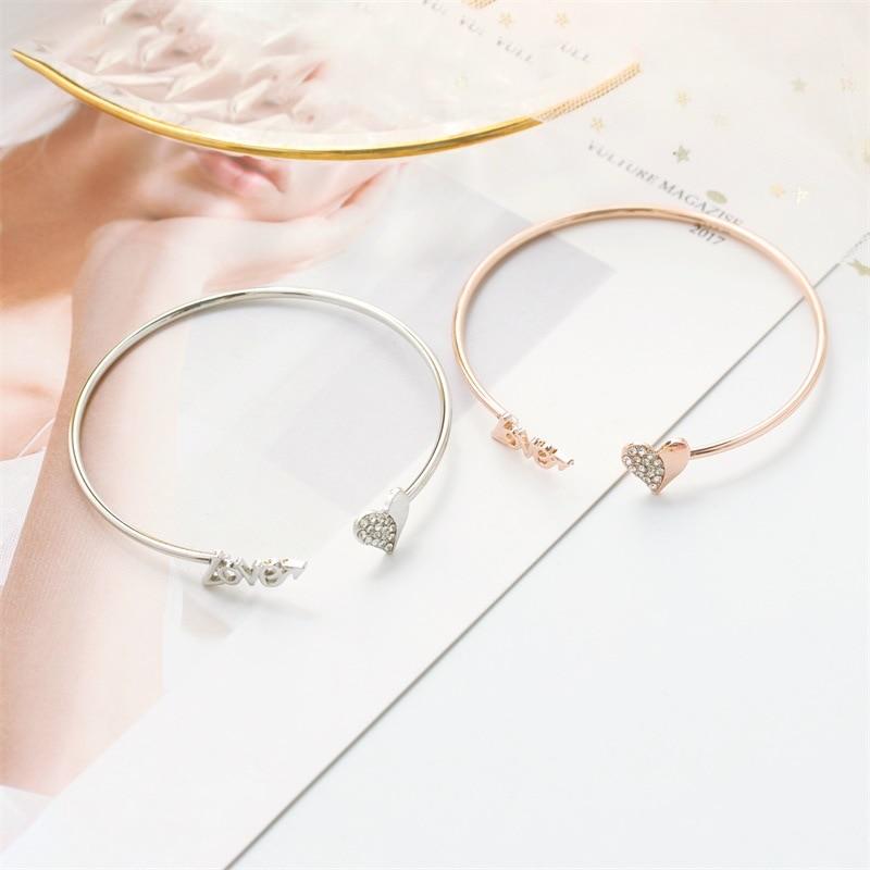 fashion retro stylish crystal heart charm bangles for women jewelry gold color ele crystal heart bracelets &bangles open bijoux