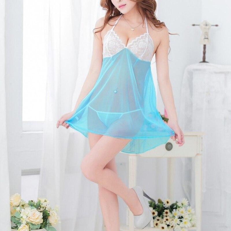 ¡Oferta! Conjunto de lencería con espalda en T para mujer, camisón transparente con encaje, ropa de dormir de corte bajo, vestido de noche sy998