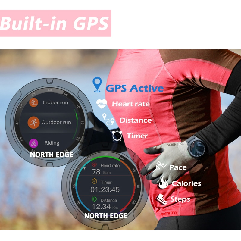 North Edge Smart Watch IP67 Waterproof GPS Bluetooth Answer Call Smartwatch 2020 Men Women Heart Rate Blood Pressure Monitor enlarge