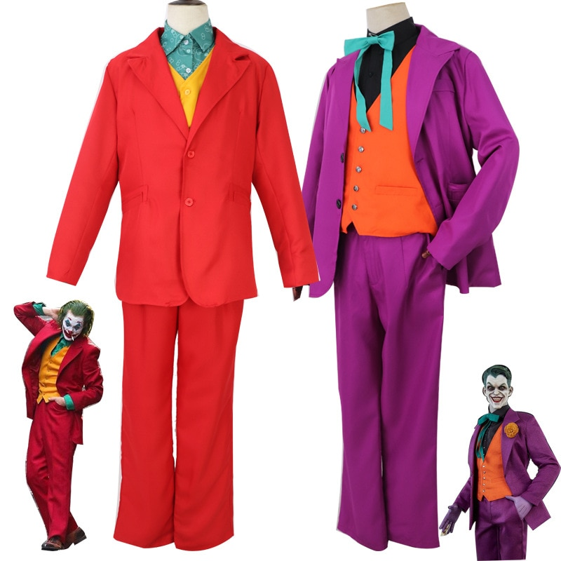 Batman traje de comodín uniforme Cosplay 2020 Joker Joaquin Phoenix Cosplay traje Joker la película Arthur Fleck máscara traje de traje