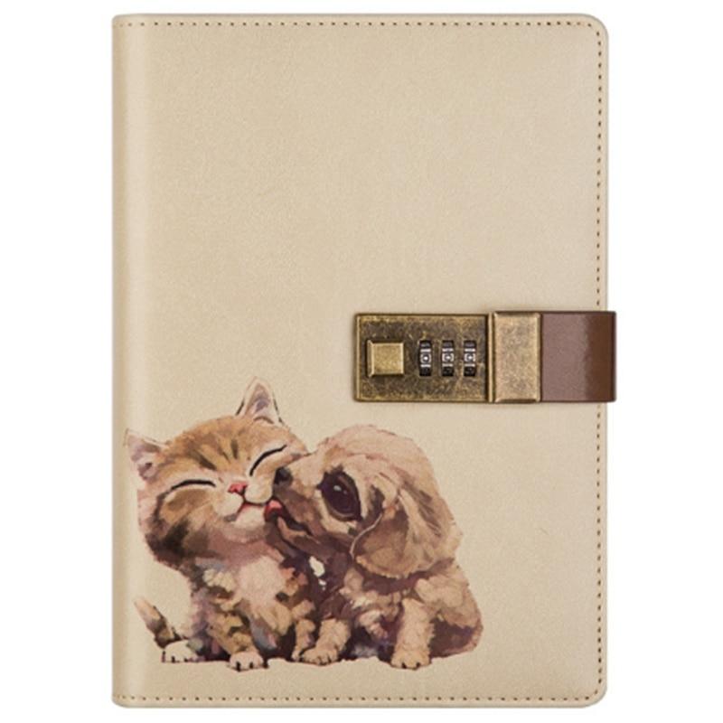 RISE-B6 Cute Notepad Notebook Secret Diary Memos Planner Agenda Notebook Pu Leather Sketchbook with Lock Office School Student P