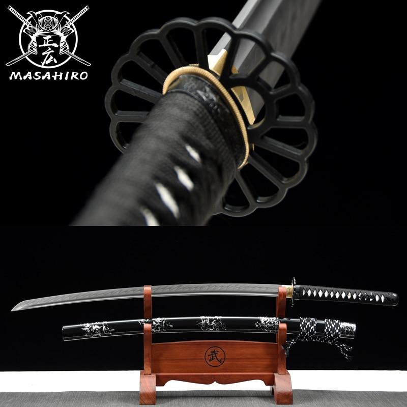 اليابانية الساموراي كاتانا السيف T10 الصلب الحقيقي هامون اليدوية النسر تسوبا معركة جاهزة حادة جدا كامل تانغ