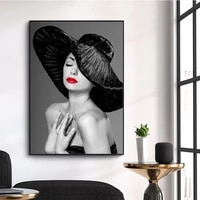 sexy red lips print poster lady with black hat ink canvas painting modern wall art prints decoration picture for room decor