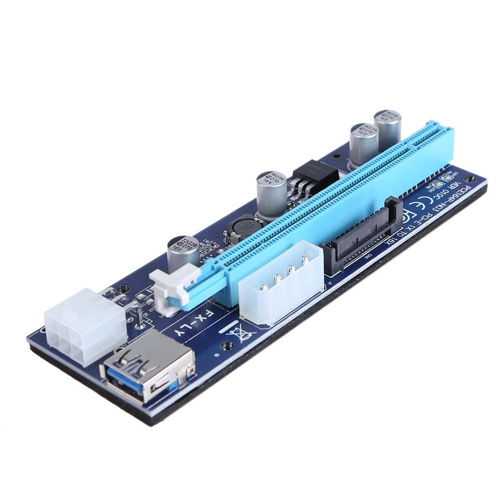 Newest Molex 6 pin PCI Express PCIE PCI-E Riser Card 008C 1X to 16X Extender 60cm USB3.0 Cable Mining Bitcoin Miner