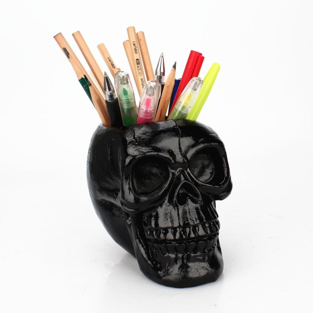 Portable noir crâne tête stylo porte-boîte de rangement résine Statues maison bureau décor cadeau danniversaire Halloween fête décoration