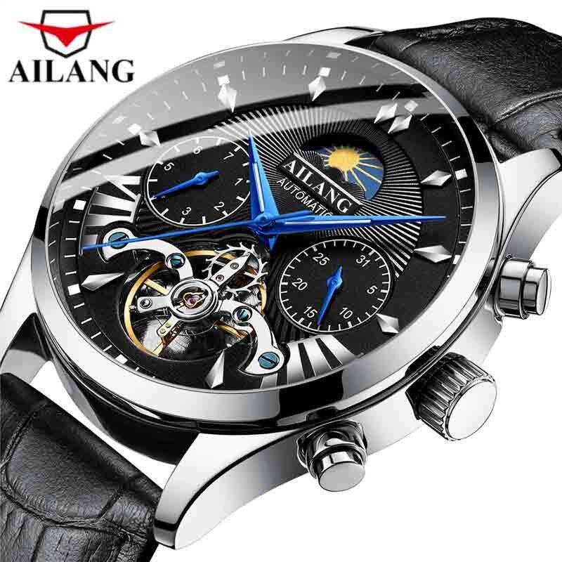 Relogio masculino AILANG ساعة ميكانيكية الرجال العلامة التجارية الفاخرة الأعمال التلقائي ساعة جلدية مقاوم للماء القمر المرحلة ساعة اليد