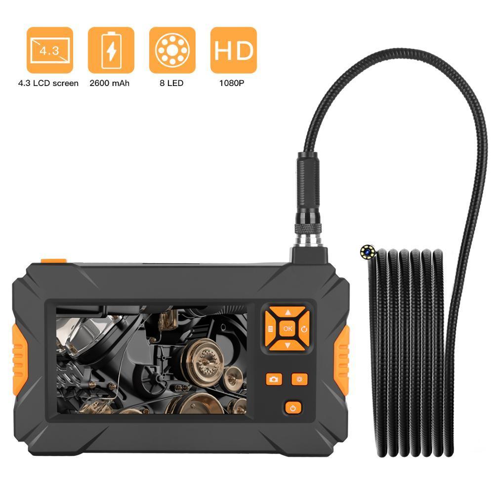 P30 hd 1080p 8mm endoscópio industrial 4.3 polegada hd lcd digital borescope vídeo ip67 à prova dip67 água inspeção reparação automóvel