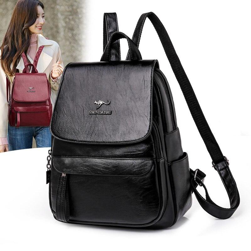 Designer Backpack Women Multifunction Shoulder Bags High Quality Leather School Bags for Teenage Girls 2020 New School Bag pack