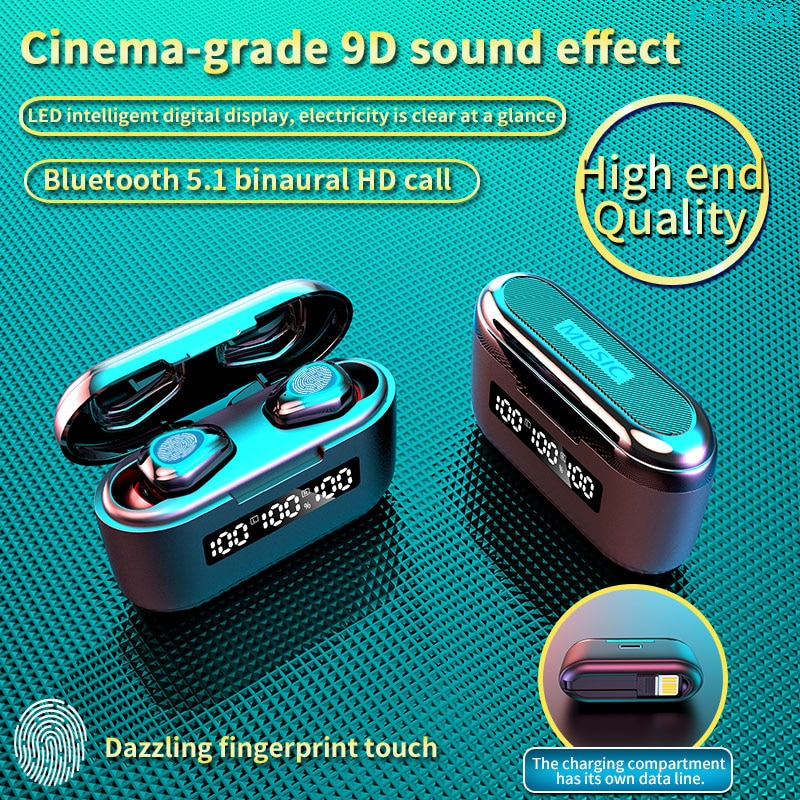 TWS Wireless Bluetooth Earphone Headset 3500mAh Charging Box Wireless Headphone 9D Stereo Waterproof
