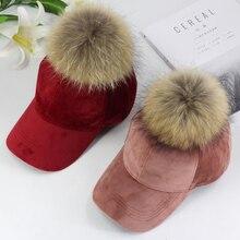 새로운 브랜드 야구 모자 2020 겨울 모자 여성을위한 진짜 모피 pompom 볼 캡 조절 캐주얼 Snapback 모자 모자