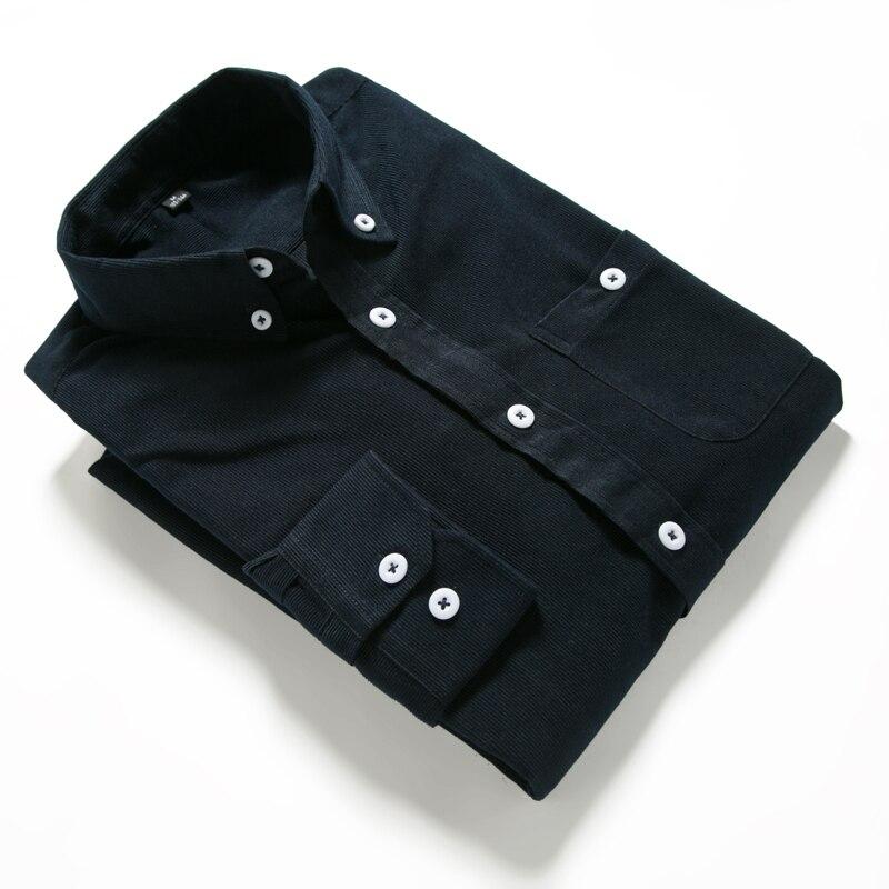 Однотонная мужская Вельветовая рубашка с длинным рукавом