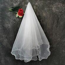 Elfenbein Perle Schleier Braut Kurzen Schleier Hochzeit Accessoire Mariage velo da sposa One-Schicht Tüll Braut Hochzeit Vail