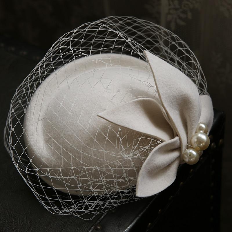 England Vintage Face Veil Fasinator Hat Women Pure Wool Felt Beret Cap Bride Wedding Flower Pearl Flower Fedora Stewardess Cap