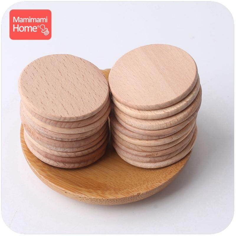 Mamihome 1000pc 37mm Baby Wooden Blank Teether Discs Beech Coins BPA Free DIY Pacifier Pendant Children'S Goods Chew Wooden Chip