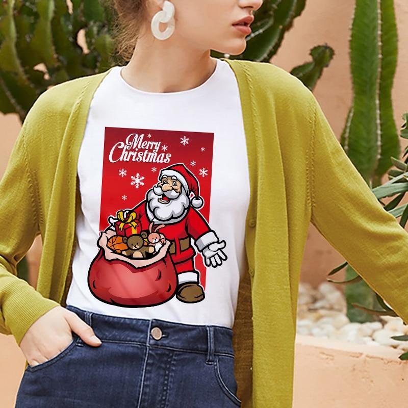Nueva camiseta de Santa Claus, camiseta Harajuku de Feliz Navidad a la moda para mujer, camiseta hipster blanca adecuada para todas las estaciones, Tops, ropa