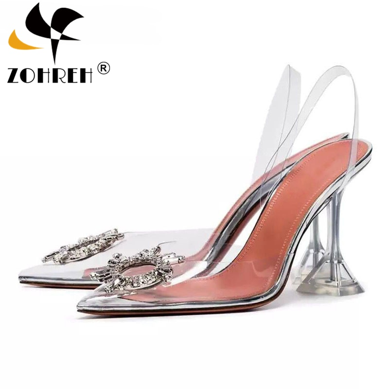Transparent PVC Sandals Women Pointed Clear Crystal Cup High Heel Stilettos Sexy Pumps Summer Shoes