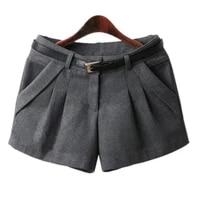 new brand spring winter women shorts mid waist woolen slim casual shorts women hot selling