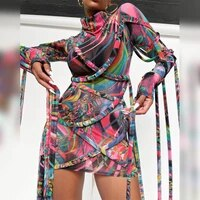 dresses for women 2021 party fashion new hit long sleeve dress printed patchwork shortest dress sexy bodycon clubwear