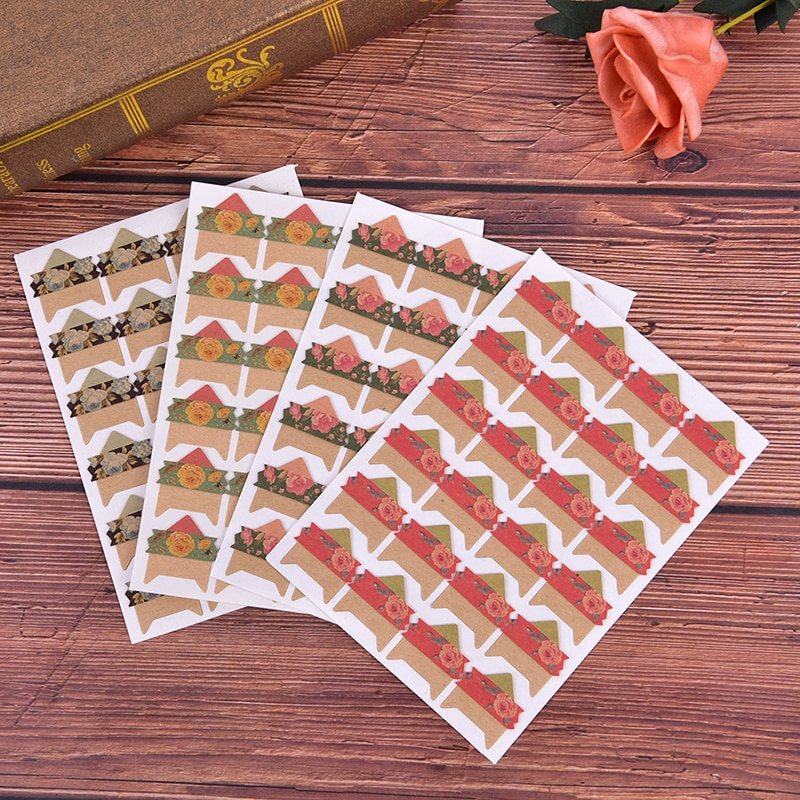 4 sheets flowers Corner Paper Stickers for Photo Albums handwork Frame Decoration Scrapbooking Wholesale DIY Floral Print