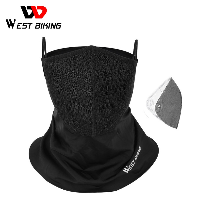 WEST BIKING Summer Sports Scarf with Activated Carbon Filter Anti Pollution Anti-UV Breathable Running Bandana Cycling Headwear