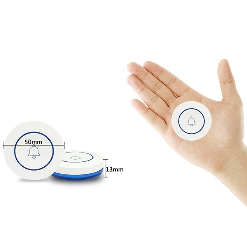 Wireless 43hz Doorbell Contact Button Home Security Welcome Smart Chimes Door Bell Alarm LED Light