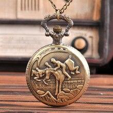 9062Best Gift Pocket Watch with waist chain Vintage Bronze Three Horses and Three Generals Retro Qua