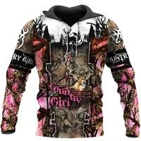 country girl deer hunting 3d print hoodies menwomen harajuku fashion hooded sweatshirt autumn hoody casual streetwear hoodie