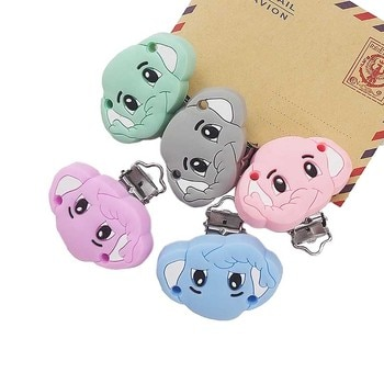 Chenkai 50PCS BPA Free DIY Silicone Elephant Teether Clip Baby Cute Pacifier Dummy Nursing Soother Sensory Toy Gift Accessories