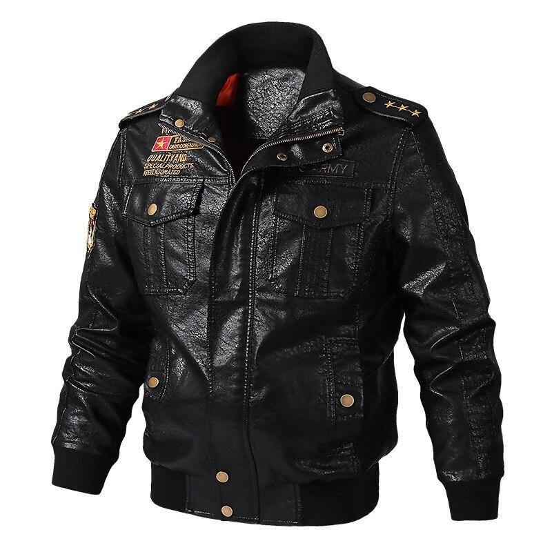 Thoshine Brand Spring Autumn Winter Men Leather Jackets Motorcycle Male Fashion PU Leather Coats Epaulet Cargo Pockets Plus Size