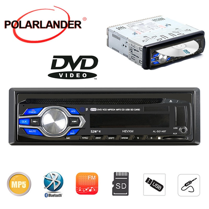 2019 New Arrival  Automatic Car Radio Bluetooth DVD/VCD/CD/FM 5V Cellphone charger handfree usb mp3 MP3 Player 12V audio